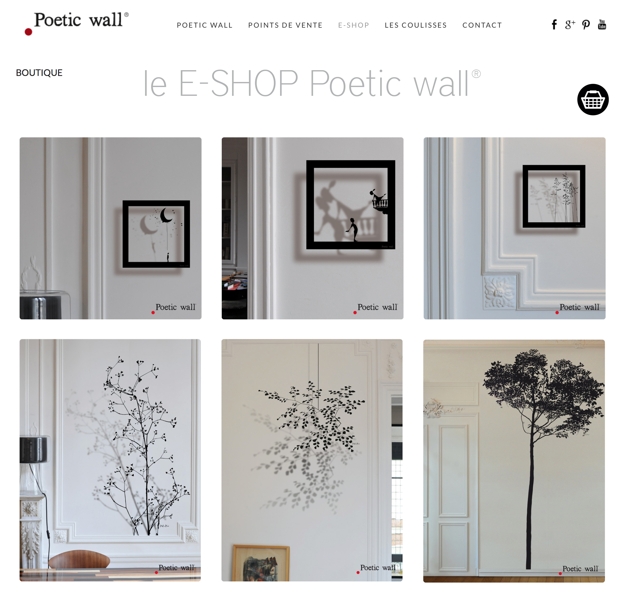 le E-SHOP poetic wall propose une sélection de stickers en vente directe